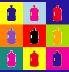 Plastic bottle silhouette sign pop-art vector
