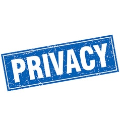 Privacy blue square grunge stamp on white vector
