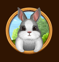 rabbit icon with frame vector image