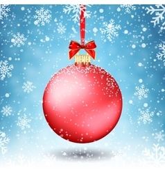 Red Christmas ball with ribbon and a bow on vector image vector image
