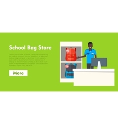 School bag store two sellers offering backpacks vector