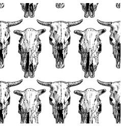 Seamless pattern with cow and bull skull vector