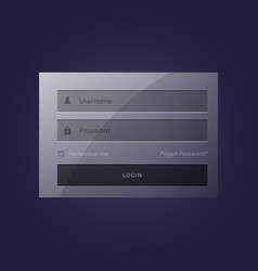 Stylish login form modern template design in dark vector