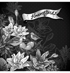 Vintage monochrome floral background with birds vector image vector image