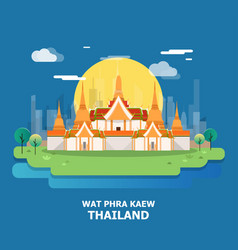 Wat phra kaew beautiful temple in thailand and vector