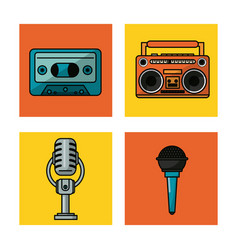 White background with colorful squares with audio vector