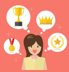 Woman think about achievements vector