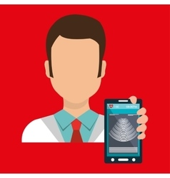 Doctor smartphone medical service vector