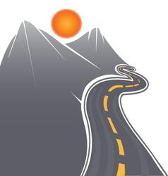 Road mountains and sun vector image