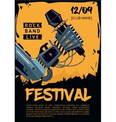 Music poster template for rock concert robot is vector
