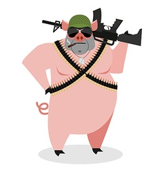 Military Pig with rifle Boar with gun hog and vector image