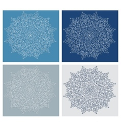 Set of vintage snowflake on blue background vector