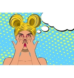 Pop art scared blond woman face vector