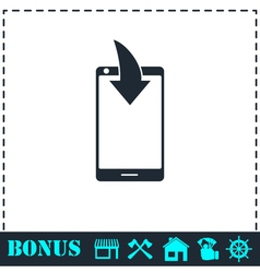 Phone download notification icon flat vector