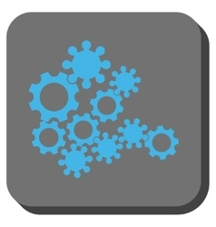 Mechanics gears rounded square button vector