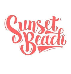 Sunset beach brush script lettering on a white vector