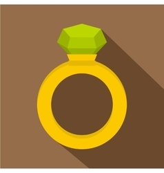 Gold ring with green gem icon flat style vector