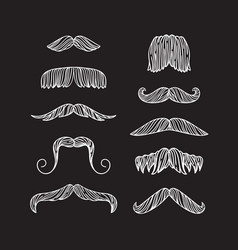 Set of hand drawn old fashion mustaches black vector