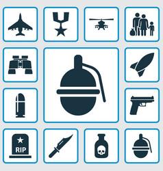 Warfare icons set collection of slug cutter vector