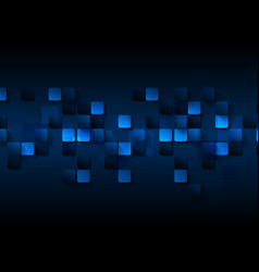 Dark blue tech abstract squares background vector