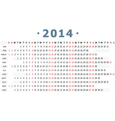 2014 Calender vector image