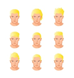 Set different hair style young men portraits vector