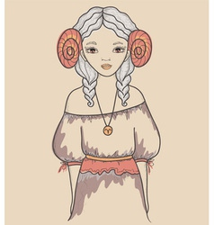 Astrological sign of the zodiac is Aries Girl vector image