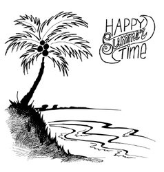 Sketch of a beach with palm tree vector