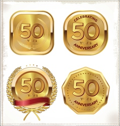 50 years anniversary golden labels vector