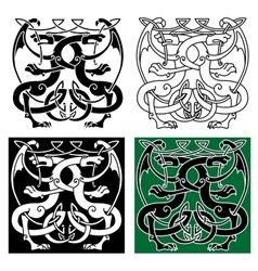 Vintage dragons celtic decorative ornament vector