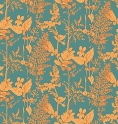 Seamless pattern of herbs and flowers vector