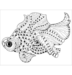 Zentangle stylized floral china fish doodle vector