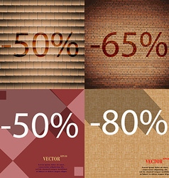 65 50 80 icon set of percent discount on abstract vector