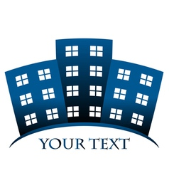 Blue symbol of buildings and space for your text vector