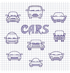 Set of sketches cars vector