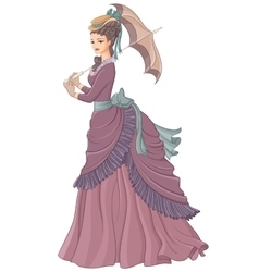 Antique dressed lady with umbrella victorian vector