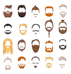 beard and hair man face mask hairstyle cartoon vector image