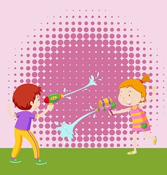 Boy and girl playing with water gun vector
