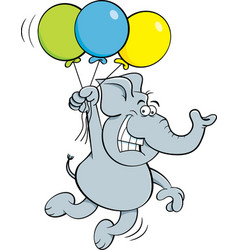 Cartoon elephant holding balloons vector