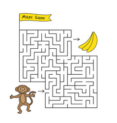 cartoon monkey maze game vector image