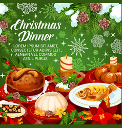 Christmas holiday cuisine festive dinner banner vector
