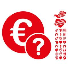 euro status icon with valentine bonus vector image