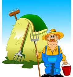 Farmer and haystack vector
