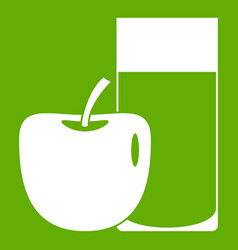 Glass of drink and apple icon green vector