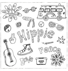 Hand drawn doodle cartoon set of hippie vector