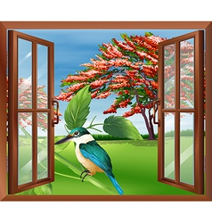 Kingfisher in window vector