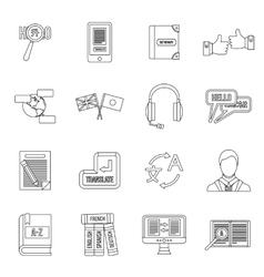 Learning foreign languages icons set outline style vector image vector image