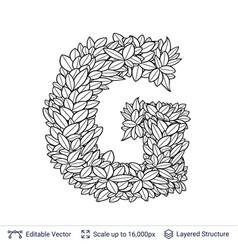 Letter g symbol of white leaves vector
