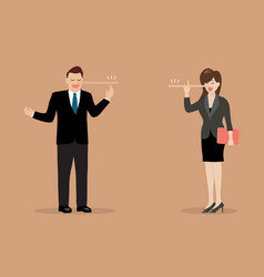 Lying businessman and woman with long nose vector