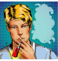man smoking e-cigarette vape pop rt comic style vector image